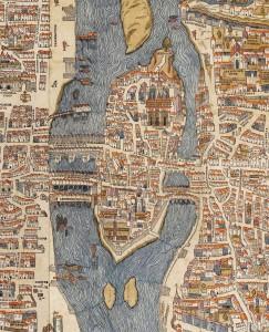plan de Truchet Hoyaux dit Plan de Bale (1552) : ile de la Cité, ile aux Juifs, ilot de la Gourdaine