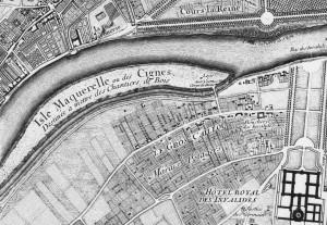plan de Roussel : Ile Maquerelle ou des Cygnes - 1730 (Wikipedia).