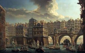 La joute des mariniers, entre le pont Notre-Dame et le Pont-au-Change(1756) de Raguenet, musée Carnavalet