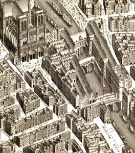 l'Hôtel-Dieu sur le plan de Turgot (1739)