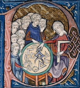 Enseignement de la géométrie – enluminure XIVe siècle