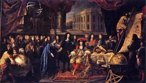 Testelin-Colbert présente les membres de l'Académie royale des sciences à Louis XIV en 1667