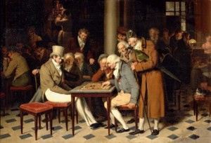 partie de dame au café Lamblin, au Palais Royal de Boilly 1824 (musée Chantilly)